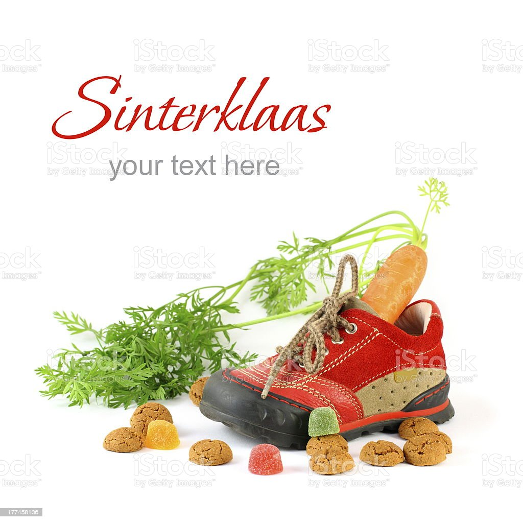 Childrens shoe and pepernoten for Sinterklaas with sample text stock photo