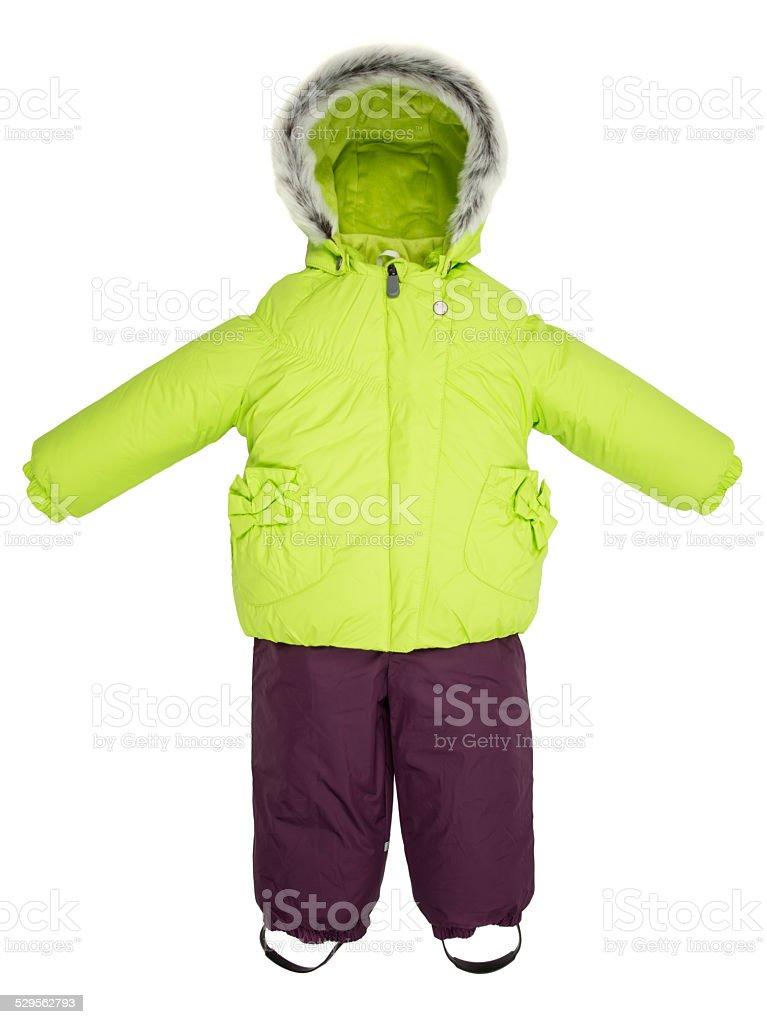 Childrens snowsuit fall stock photo