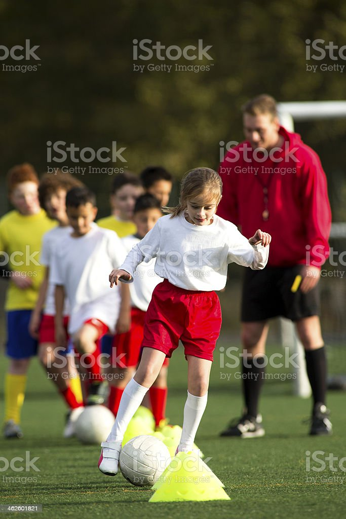 Childrens Soccer Practice stock photo