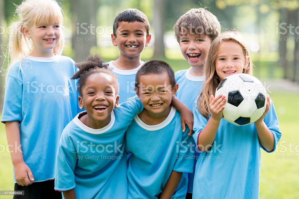 Childrens Soccer Team Posing for Picture stock photo