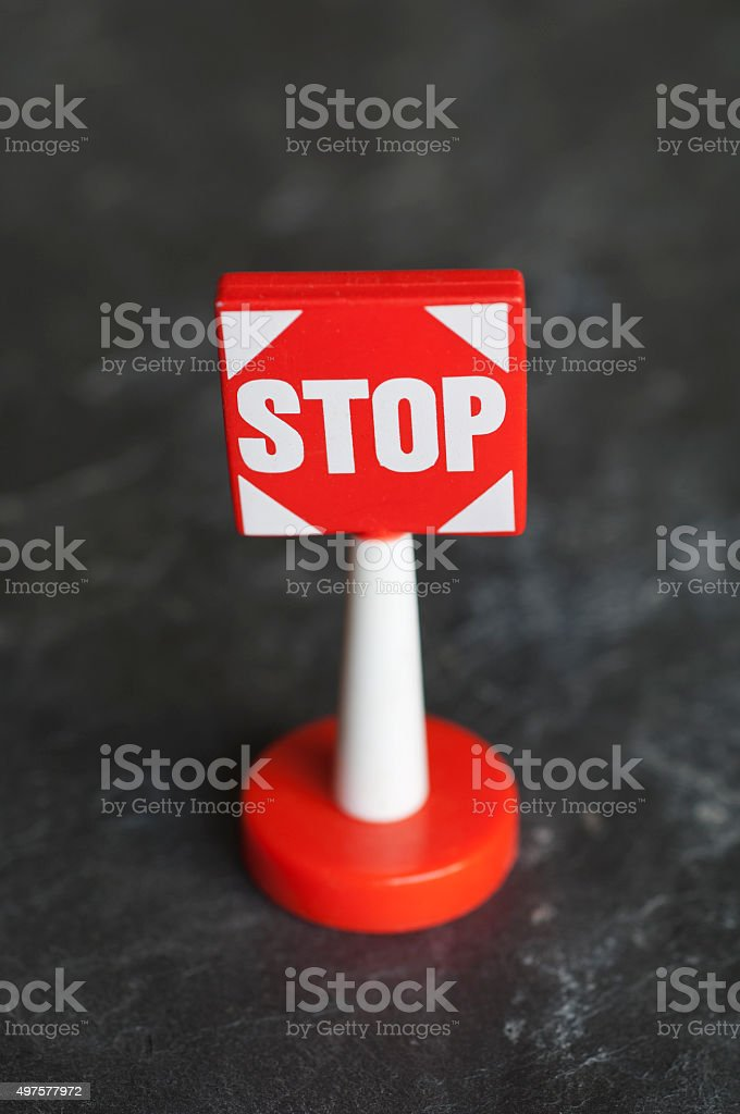 Childrens toy 'Stop' sign stock photo