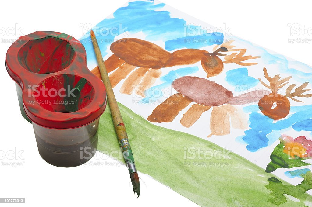 children's watercolor drawing. stock photo