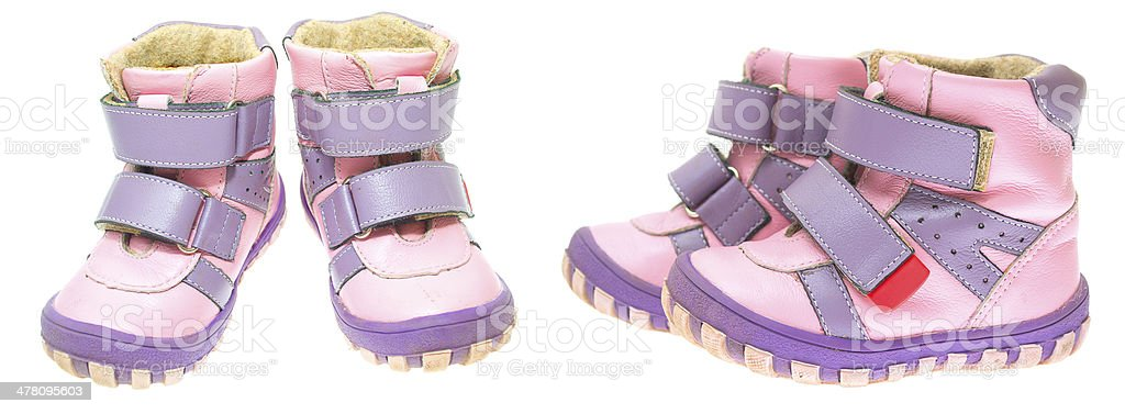 Children's winter shoes isolated on white background. royalty-free stock photo