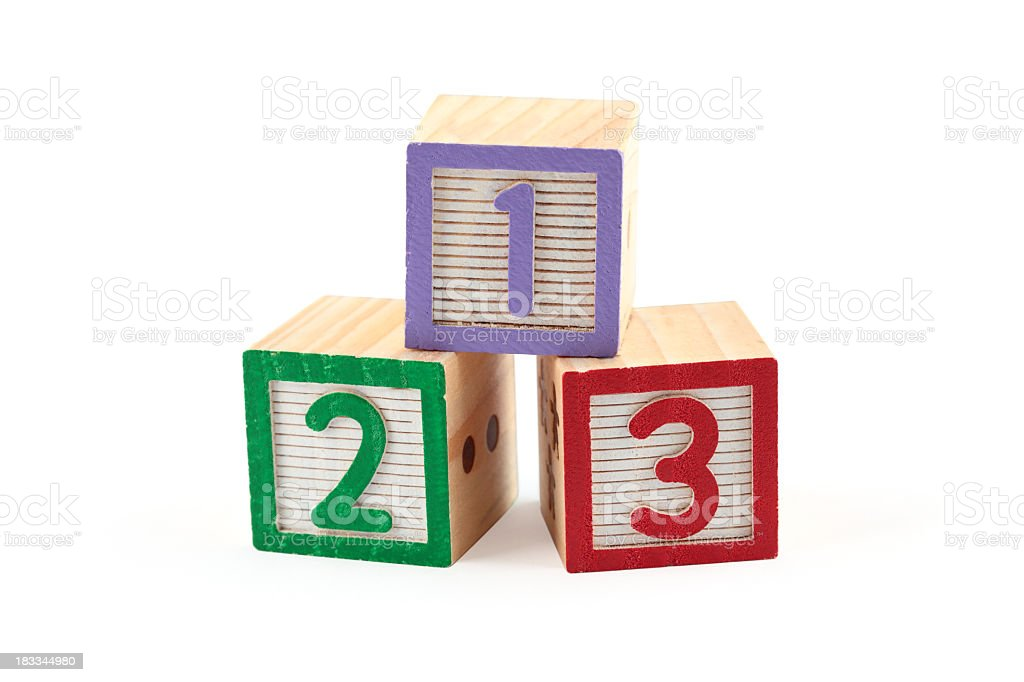 Children's wooden number blocks royalty-free stock photo