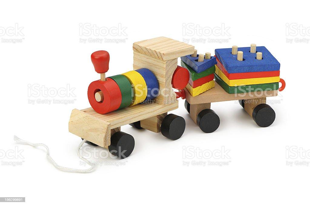 Children's wooden steam locomotive a toy royalty-free stock photo