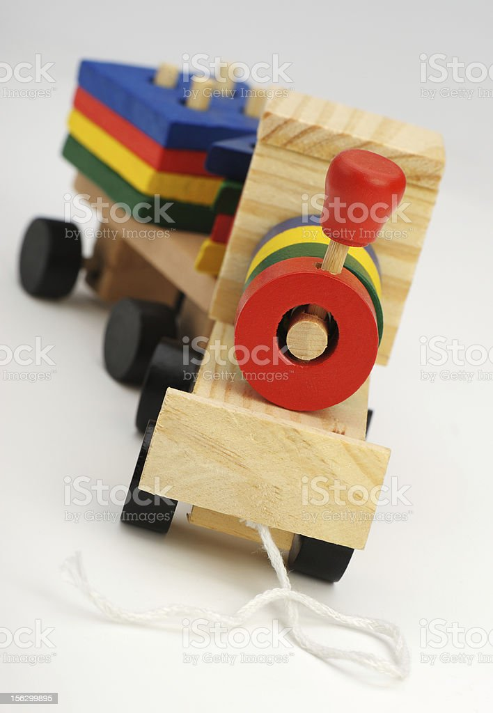 Children's wooden steam locomotive a toy royalty-free stock photo
