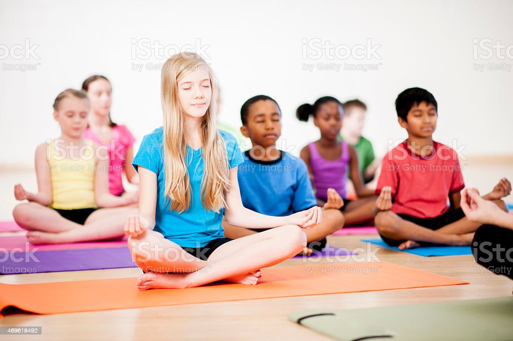 Childrens Yoga Class stock photo