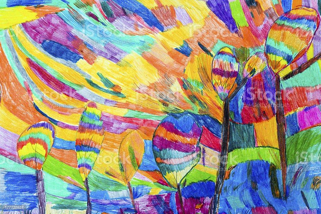 Children-style coloring of a tropical garden artwork stock photo