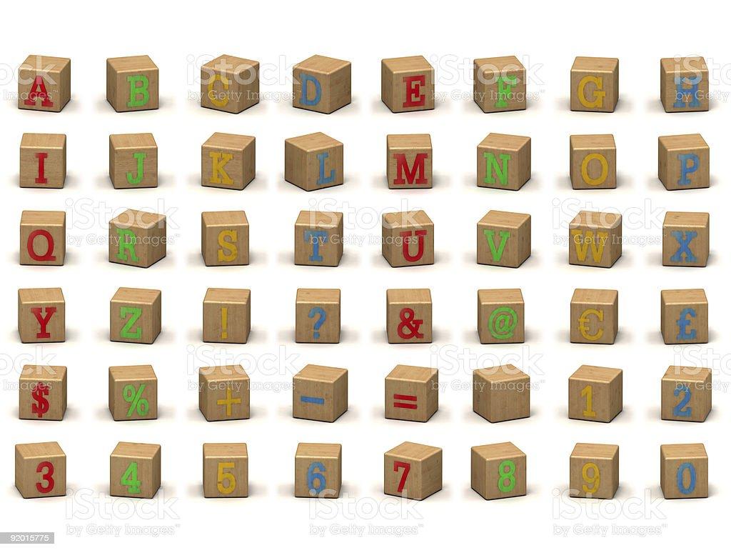 Child's alphabet building block set at various angles stock photo