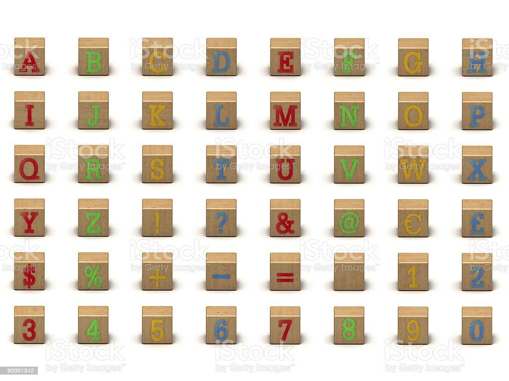 Child's alphabet building block set stock photo