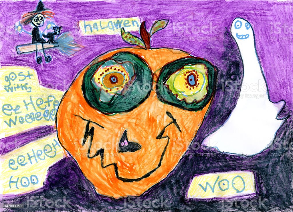 Child's Artwork - 'Halloween: Witch, Pumpkin and Ghost' vector art illustration