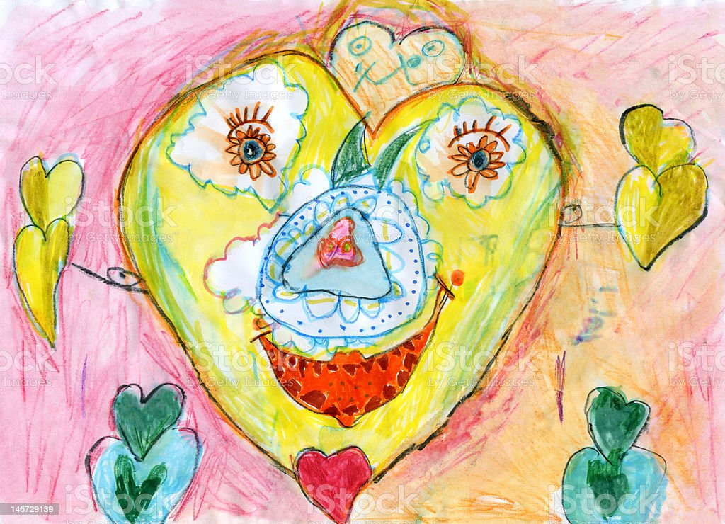 Child's Artwork - 'Happy heart' royalty-free stock photo