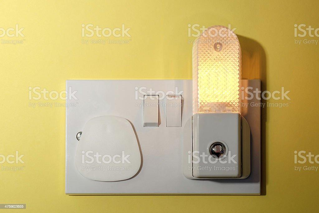 Childs bedroom night light stock photo