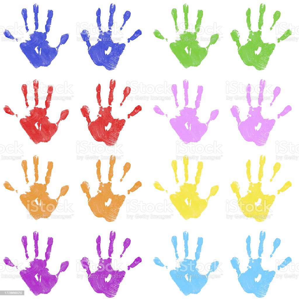 Child's Color Hand Prints stock photo