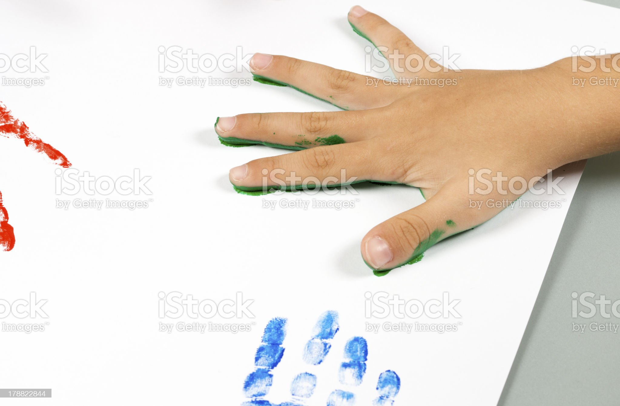 Child's Color Hand Prints royalty-free stock photo