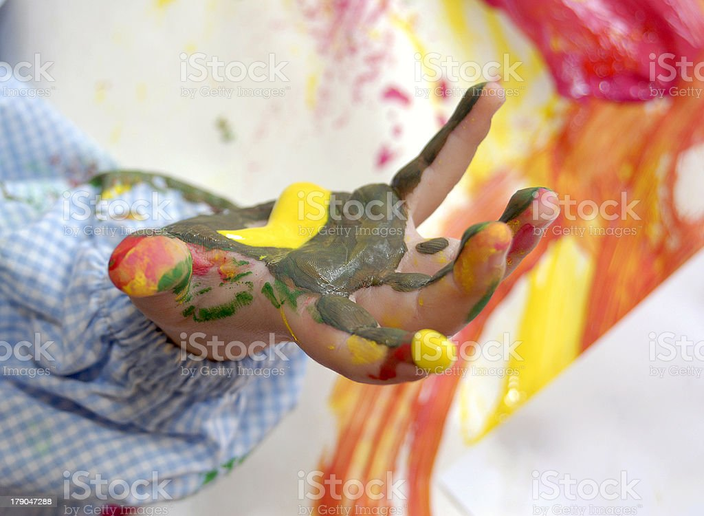 Child's colored hand royalty-free stock photo