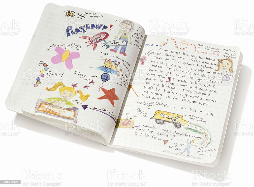 child's diary stock photo