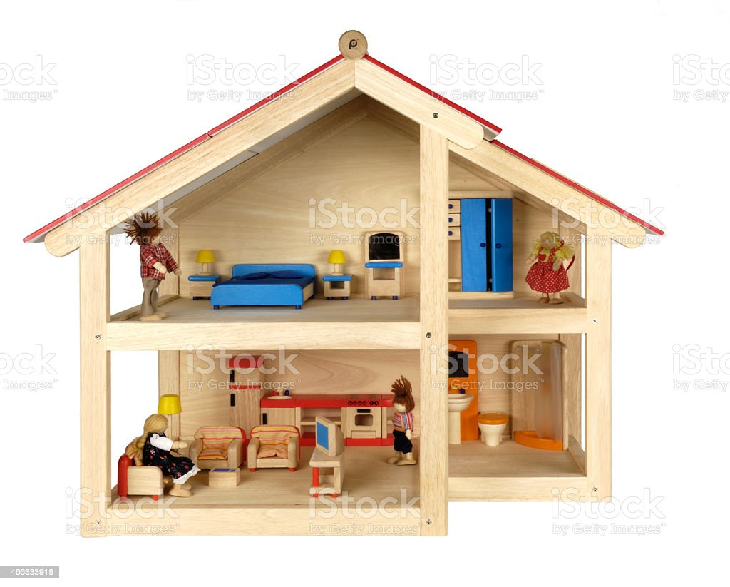 Child's doll house with furniture stock photo