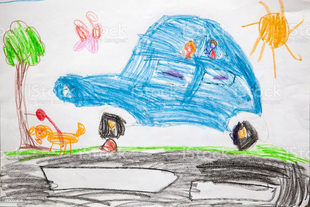Child's drawing - car stock photo
