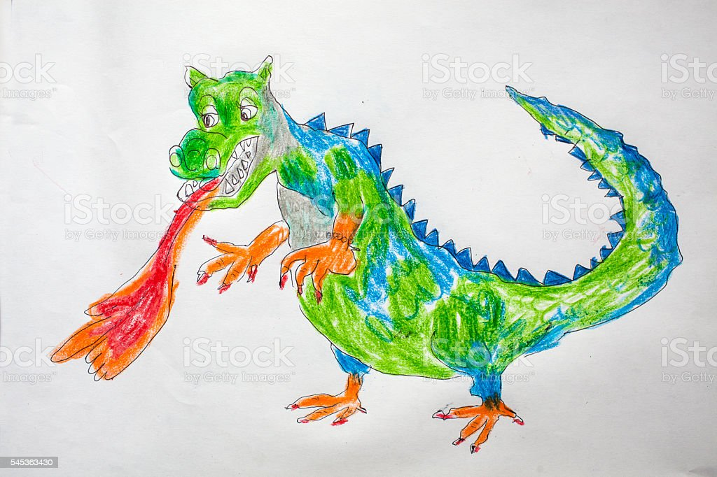 Child's drawing - dragon stock photo