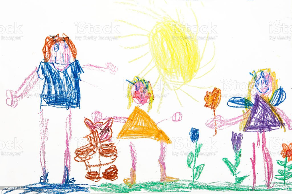 Child's drawing family stock photo
