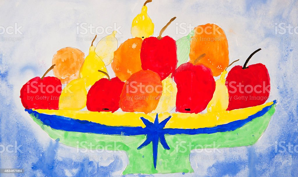 Childs drawing - Fruit stock photo