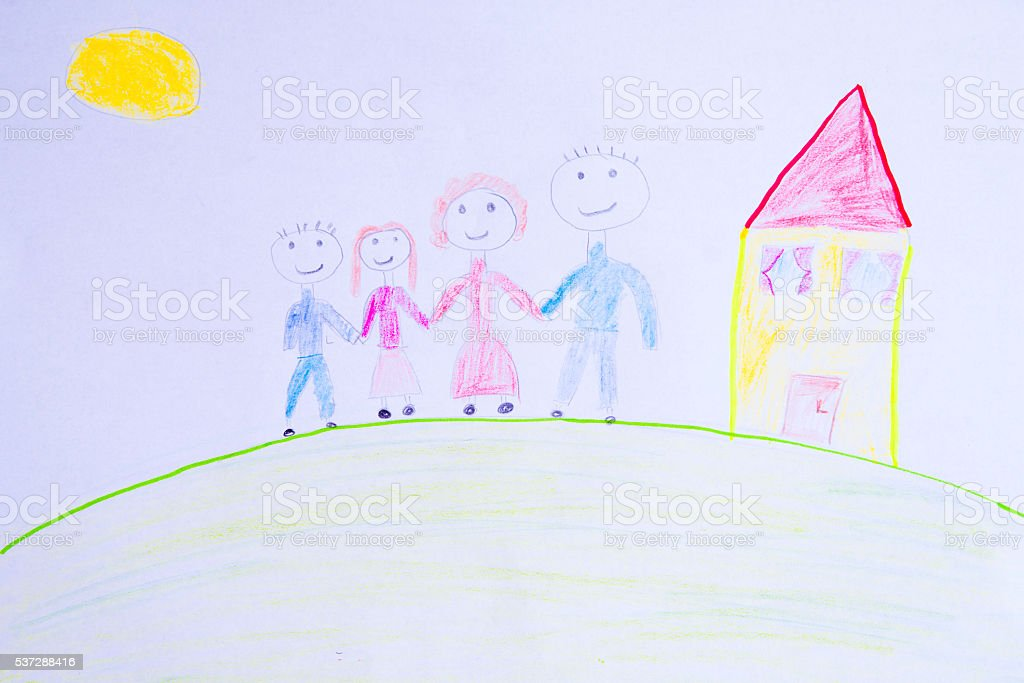 Child's drawing happy family stock photo