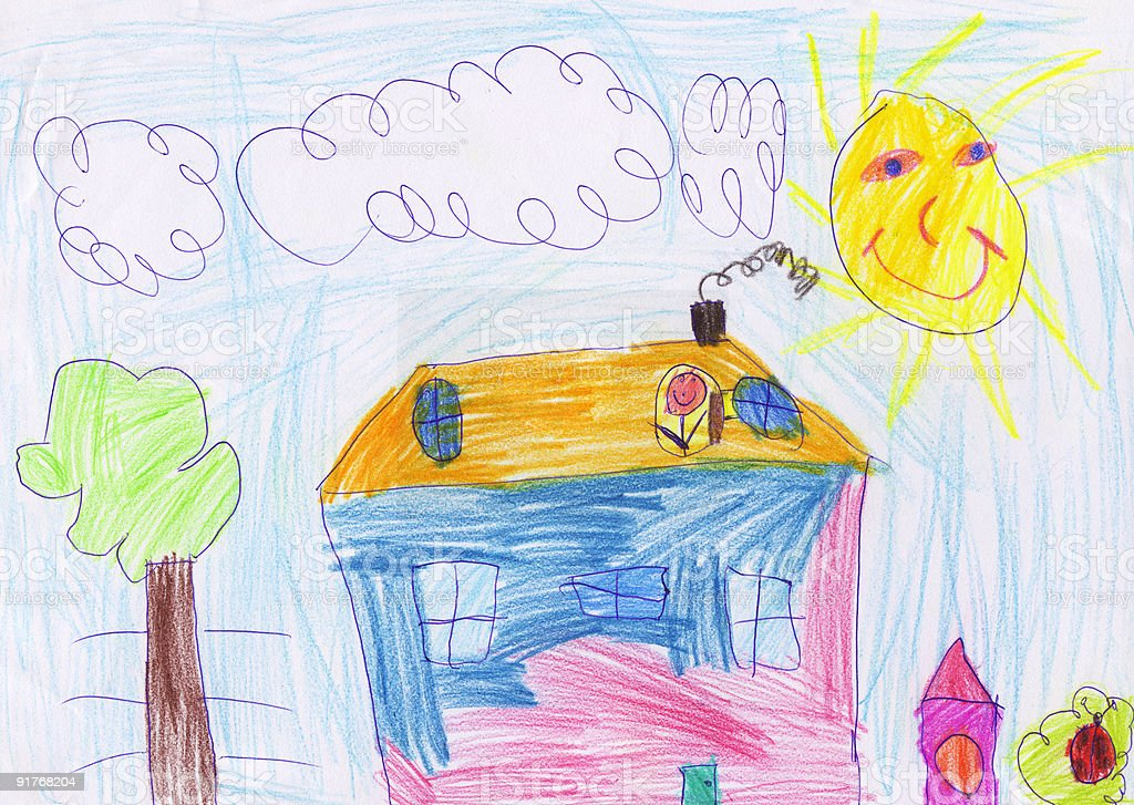 Child's drawing home stock photo