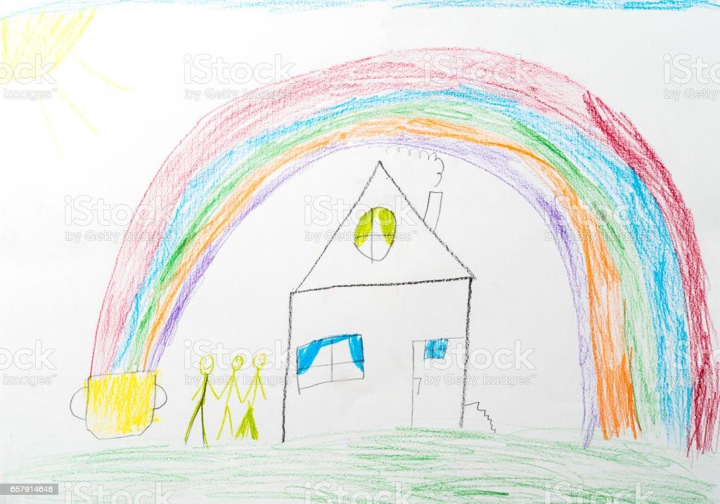 child's drawing. home rainbow happy family stock photo