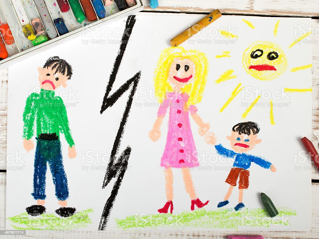 A child's drawing of a marriage break up stock photo