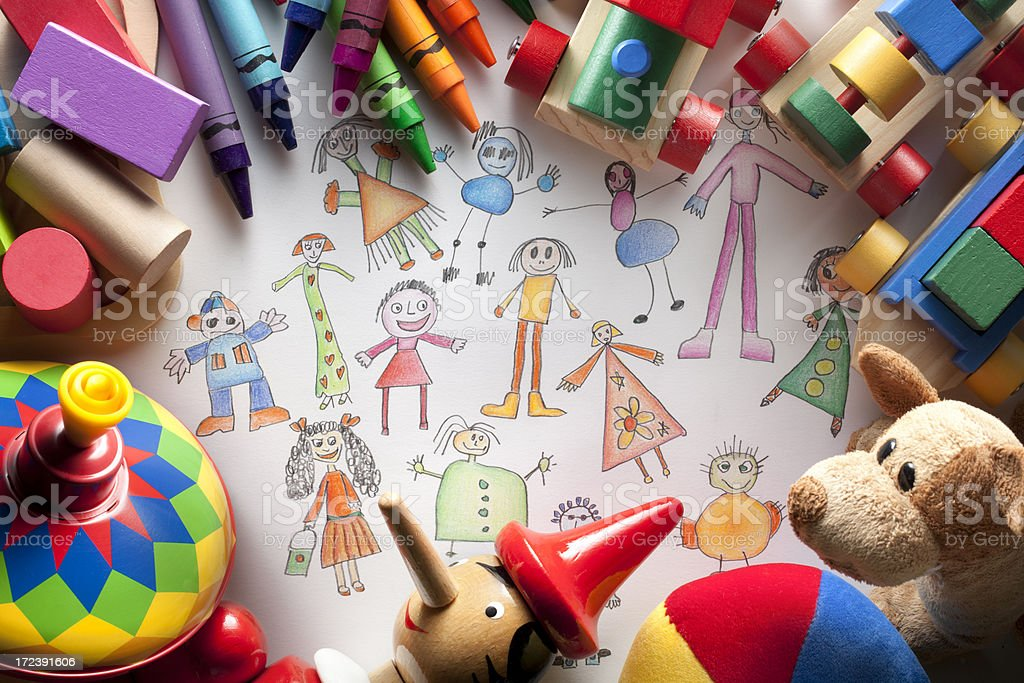 Child's drawing of children with toys royalty-free stock photo