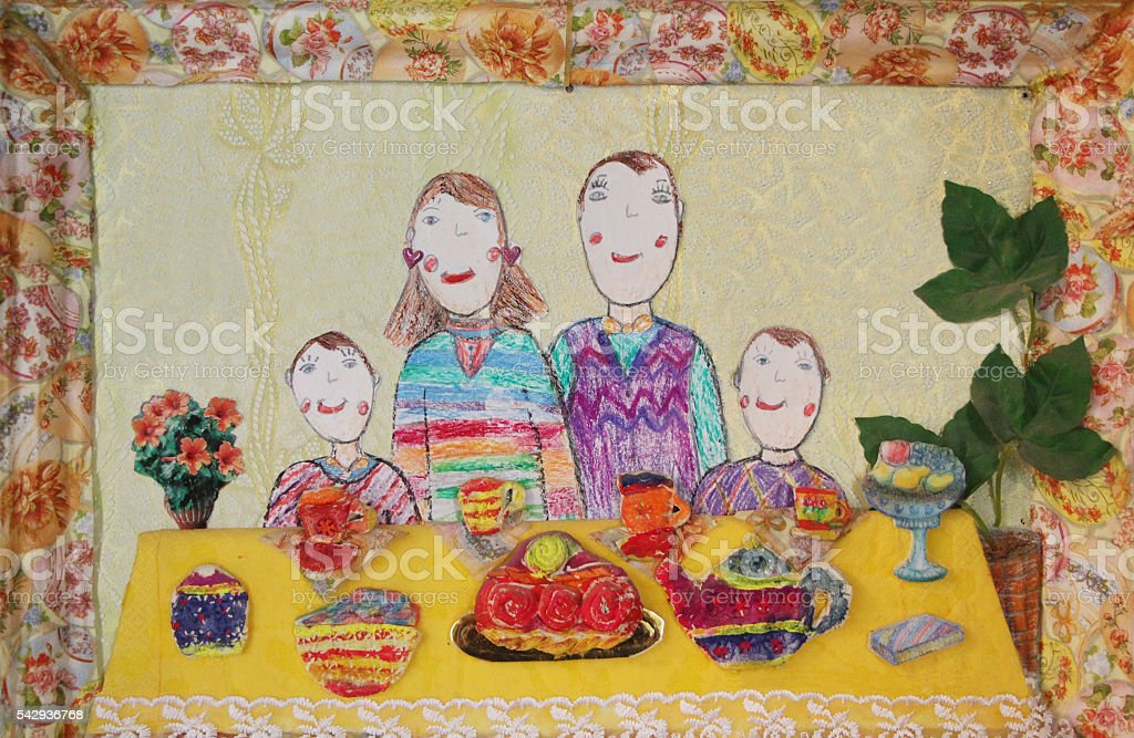 Child's drawing of family. Happy family with two children foto stock royalty-free