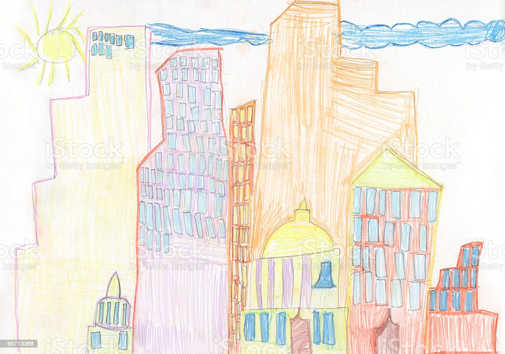 Child's drawing skyscraper city stock photo