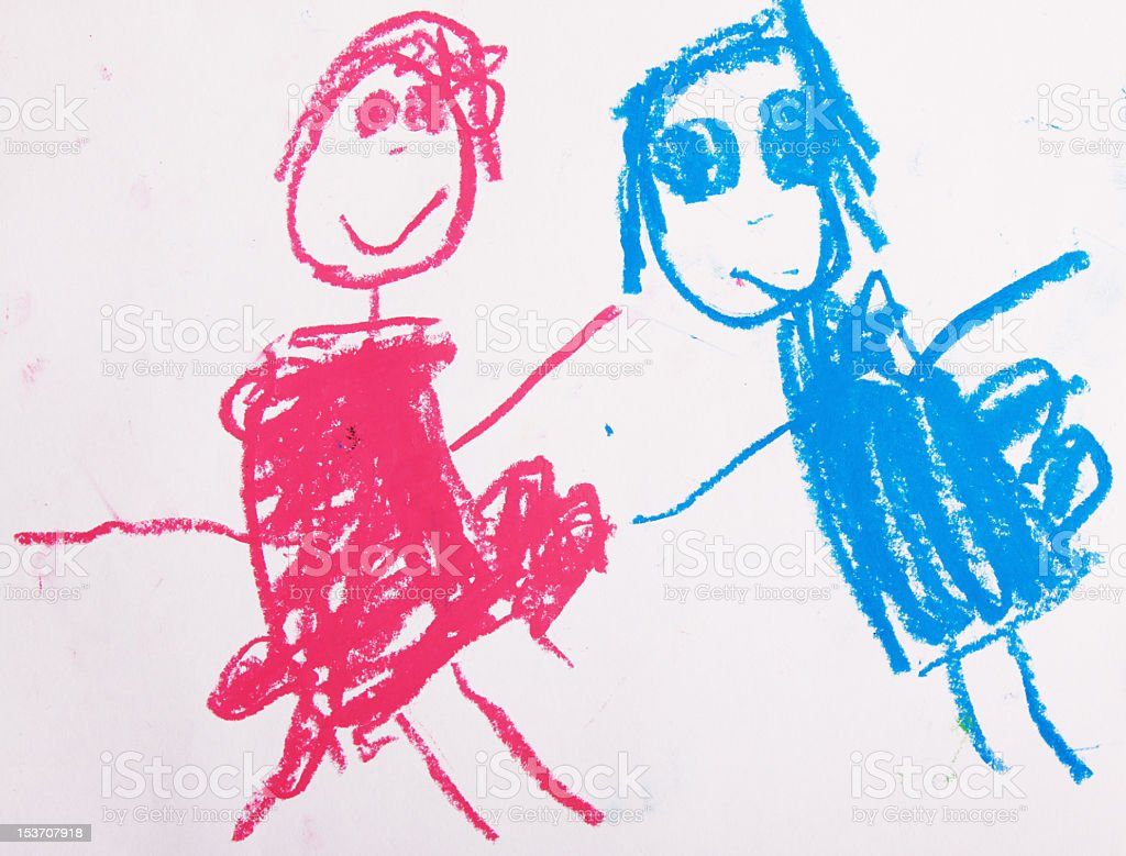 Child's drawing with pink and blue figures stock photo