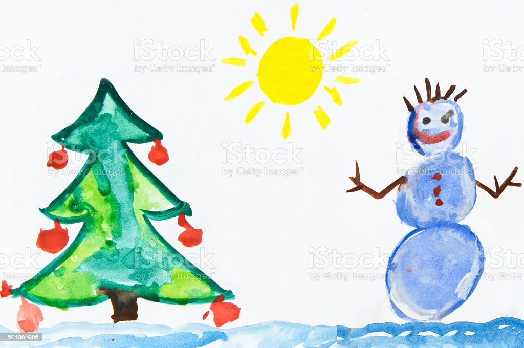 Child's drawing with snowman stock photo