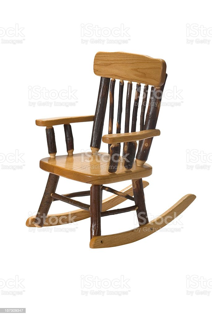 Child's furniture Amish Rocking Chair Hickory royalty-free stock photo