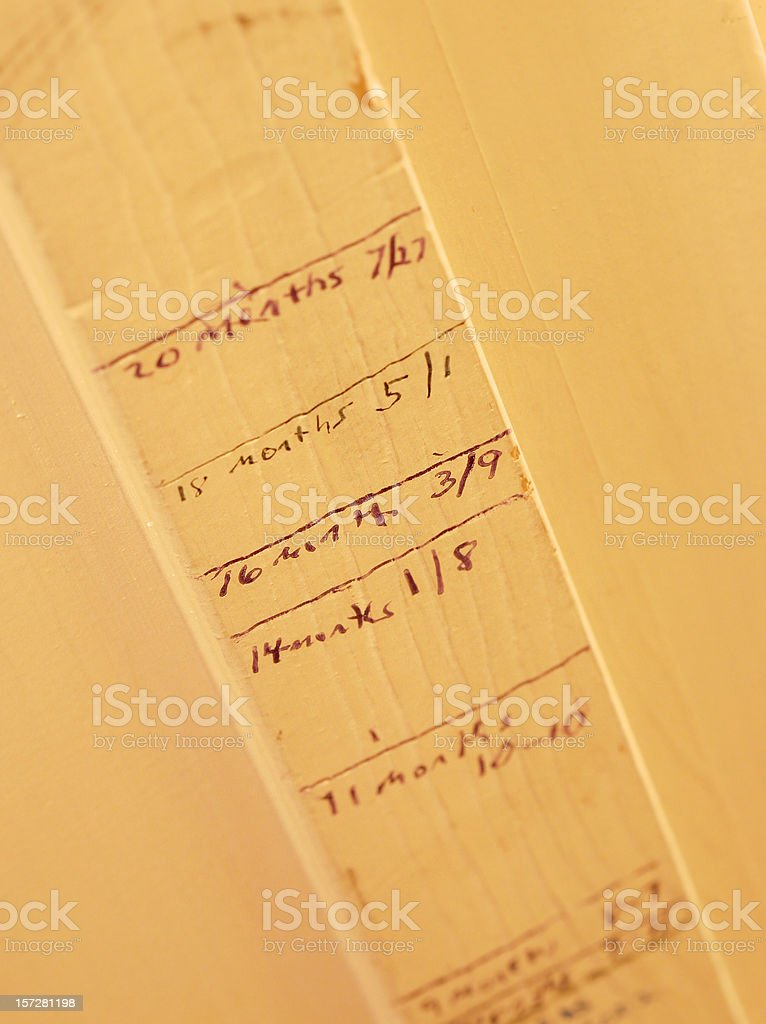 Childs Growth Chart on Door Frame stock photo