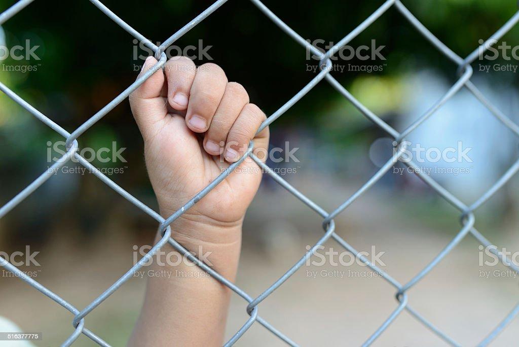 child's hand in jail. stock photo