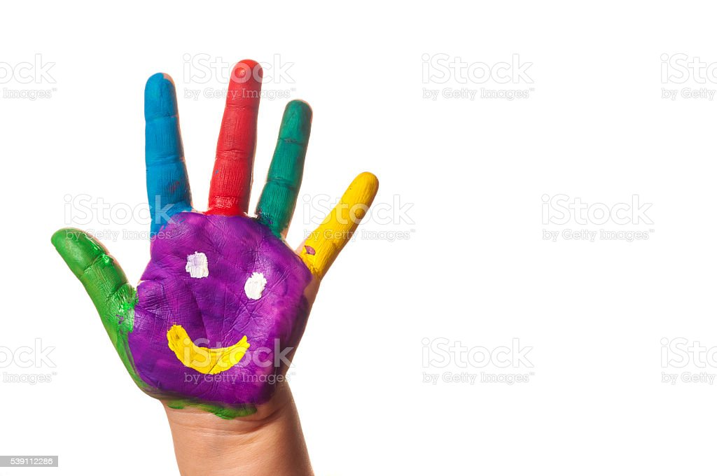 Child's hand painted watercolor against white background stock photo