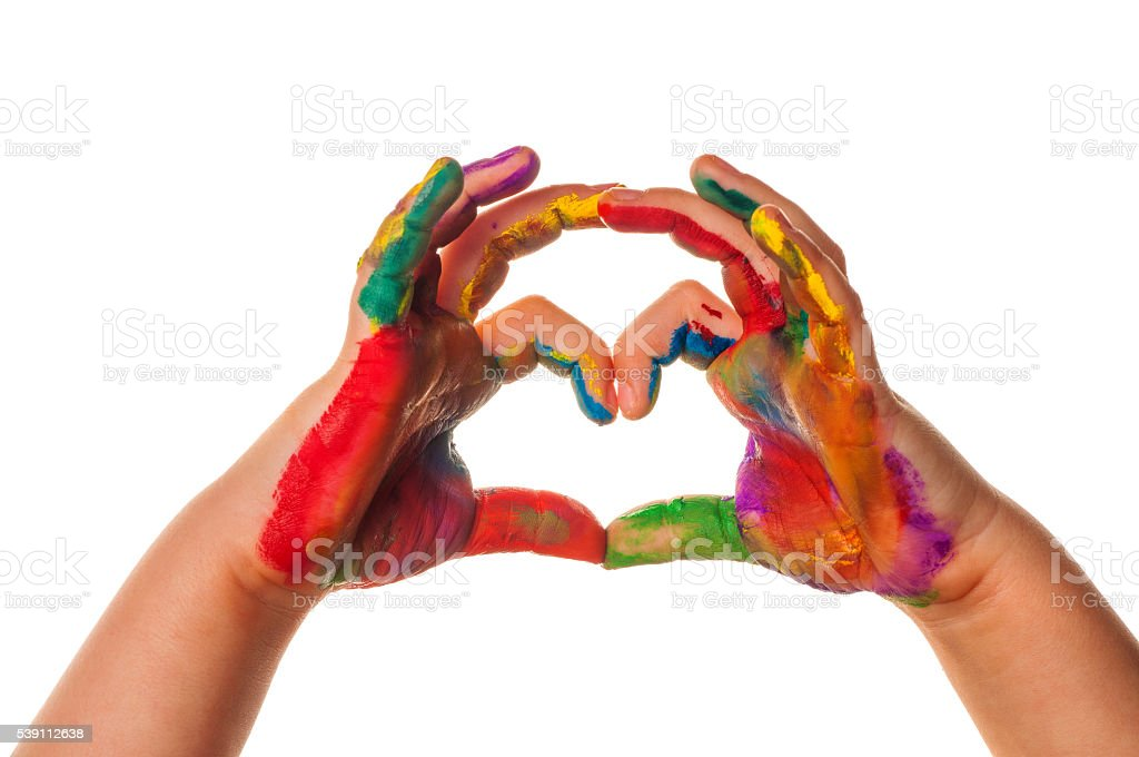 Child's hand painted watercolor in heart shape stock photo