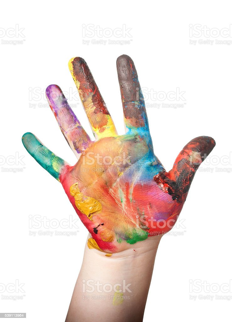 Child's hand painted watercolor on white background stock photo