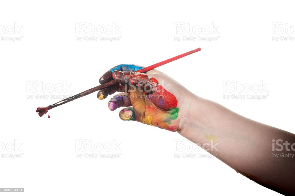 Child's hand painted watercolor with pait brush on white background stock photo
