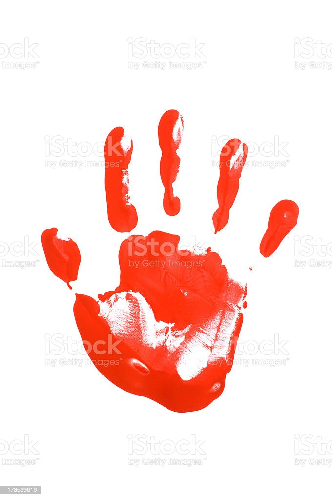 Child's hand print in red paint royalty-free stock photo