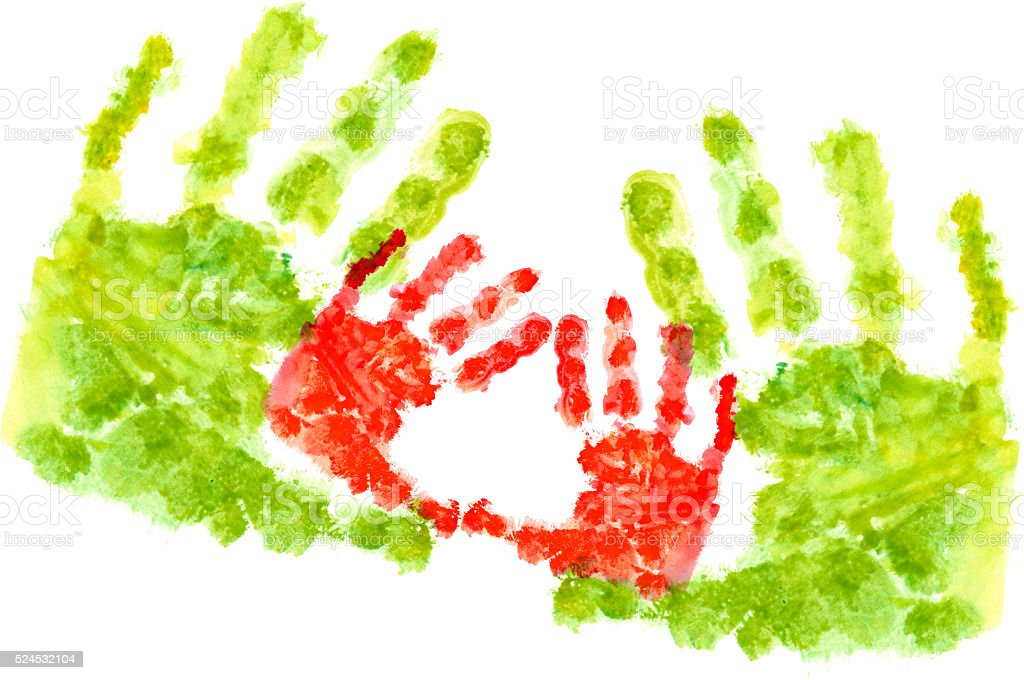 Child's Handprint isolated on White stock photo