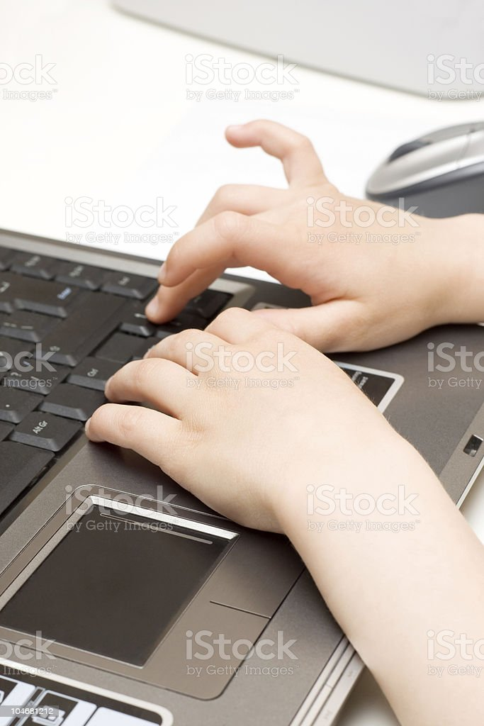 Child's Hands and Laptop royalty-free stock photo