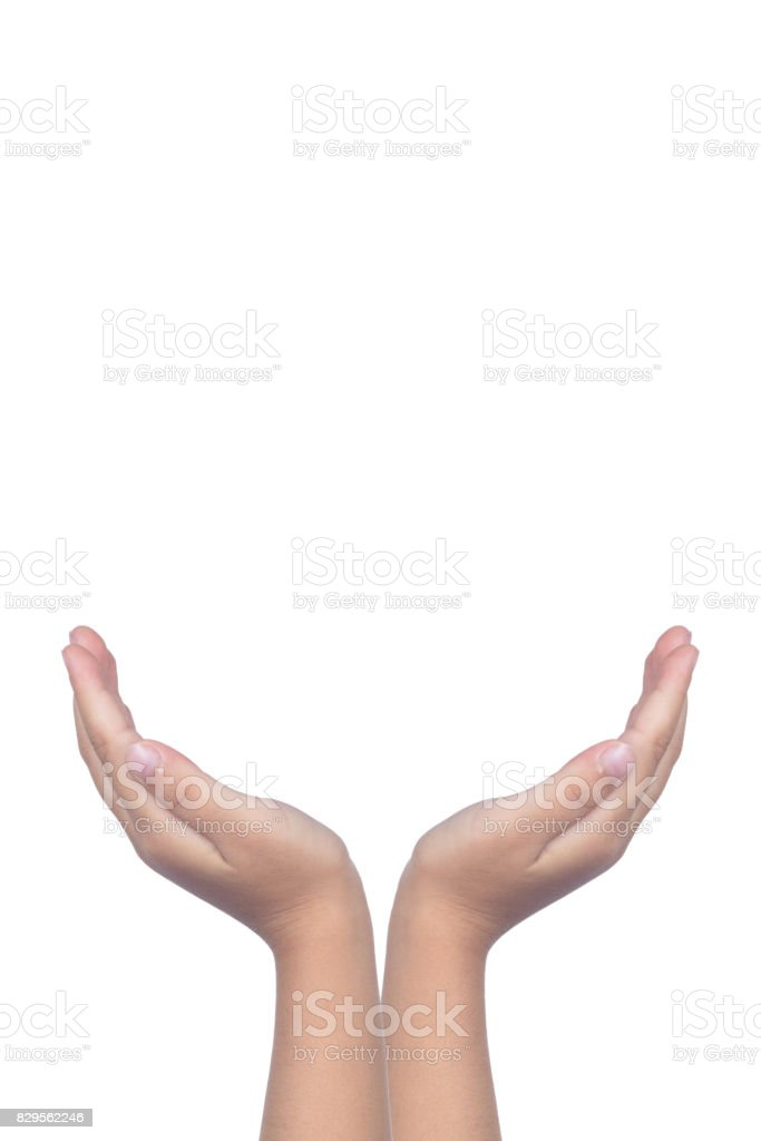 Child's hands protecting something stock photo