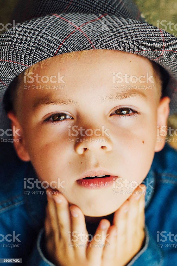 Child's happy face . Portrait of a Cute Kid. stock photo