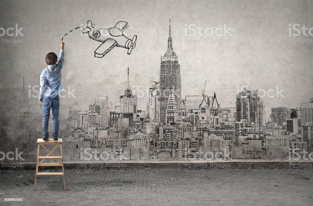 Child's imagination stock photo