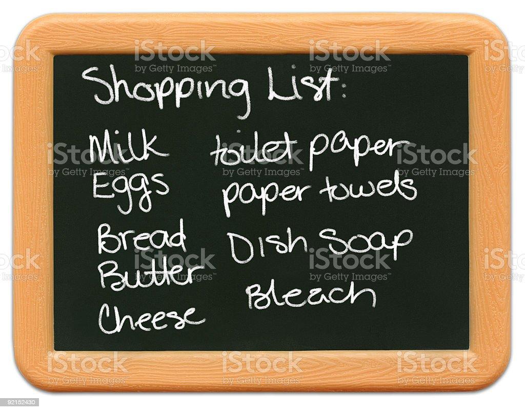 Child's Mini Chalkboard - Shopping List royalty-free stock photo