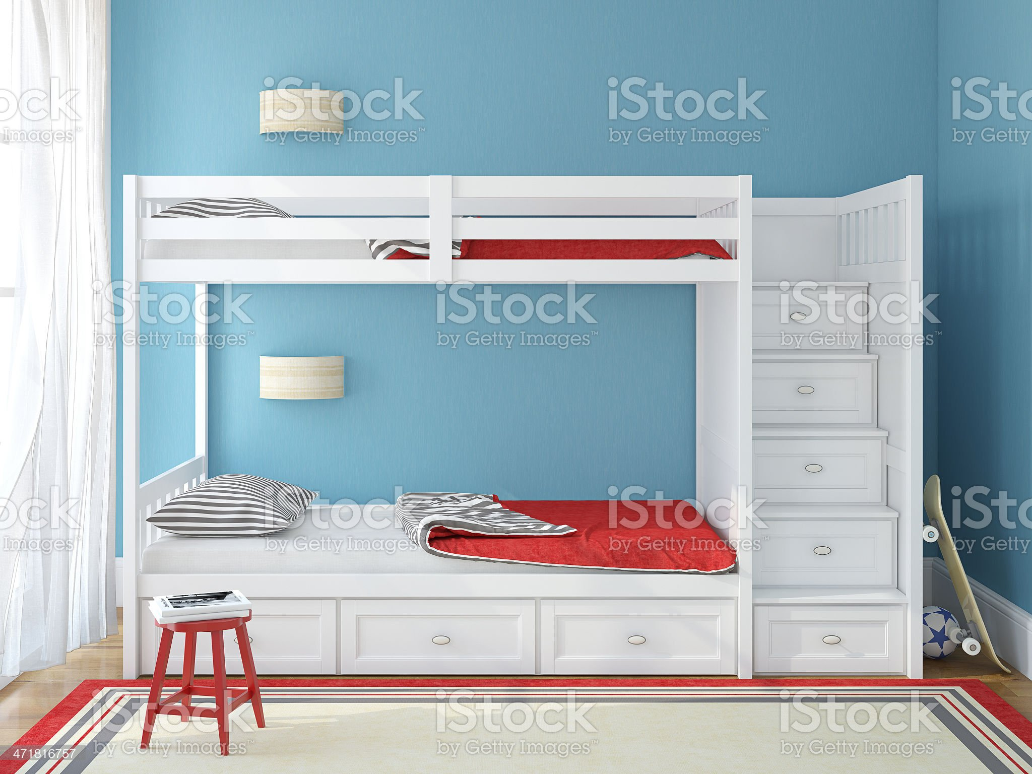 Childs modern bedroom with stairs made of drawers on bunkbed royalty-free stock photo